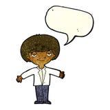 Cartoon smug boy with speech bubble Royalty Free Stock Photo