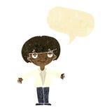 Cartoon smug boy with speech bubble Stock Photography