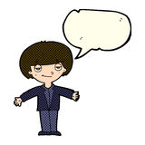 Cartoon smug boy with speech bubble Royalty Free Stock Images