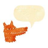 Cartoon smug fox face with speech bubble Stock Photography