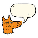 Cartoon smug fox face with speech bubble Royalty Free Stock Images