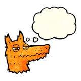 Cartoon smug fox face with thought bubble Royalty Free Stock Photos