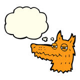Cartoon smug fox face with thought bubble Royalty Free Stock Images