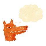 Cartoon smug fox face with thought bubble Stock Images