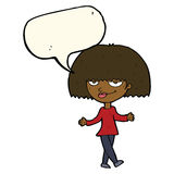 Cartoon smug looking woman with speech bubble Royalty Free Stock Photography