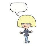 Cartoon smug looking woman with speech bubble Stock Photos