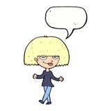 Cartoon smug looking woman with speech bubble Stock Image