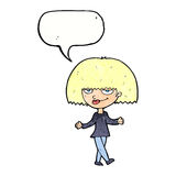Cartoon smug looking woman with speech bubble Royalty Free Stock Image