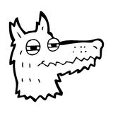 Cartoon smug wolf face Stock Image