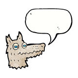 Cartoon smug wolf face with speech bubble Royalty Free Stock Photography