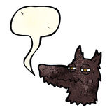 Cartoon smug wolf face with speech bubble Royalty Free Stock Photos