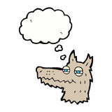 Cartoon smug wolf face with thought bubble Royalty Free Stock Images