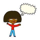 Cartoon smug woman with speech bubble Royalty Free Stock Image