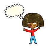 Cartoon smug woman with speech bubble Royalty Free Stock Photo
