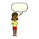 Cartoon smug woman with speech bubble Stock Photography