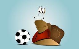 Cartoon snail as a football player. Cartoon background with snail as a football player with ball Royalty Free Stock Photo