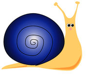 Cartoon Snail (Blue). Cute cartoon snail with blue shell Stock Image