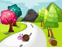 Cartoon snail crossing road stock illustration