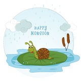 Cartoon snail for Happy Monsoon concept. Royalty Free Stock Photography