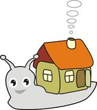 Cartoon snail with a house. Fairy snail with a small house in cartoon style - vector Stock Photos