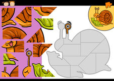 Cartoon snail jigsaw puzzle game. Cartoon Illustration of Education Jigsaw Puzzle Game for Preschool Children with Funny Snail with Lettuce Character Stock Photography