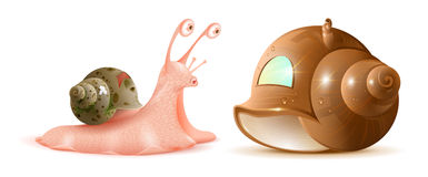 Cartoon snail looks at new shell of house. Buying property Stock Photo