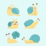 Cartoon snail  set. Cartoon snail  set on blue background Royalty Free Stock Images