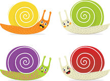 Cartoon snails. Four small snails are looking up to great Royalty Free Stock Photography