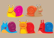 Cartoon snails. Vector illustration of cartoon colored snails Stock Photos