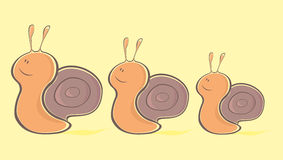 Cartoon snails. Happy Family cartoon snails lined Up Stock Image