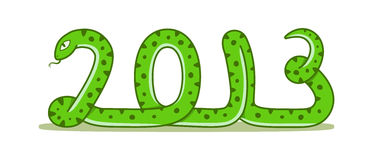 Cartoon snake. Symbol of the new year 2013 Stock Photos