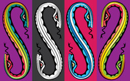 Cartoon snake bodies connected together Stock Photo