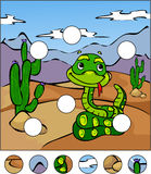 Cartoon snake in the desert. complete the puzzle and find the mi Royalty Free Stock Photography