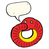 Cartoon snake eating own tail with speech bubble Stock Photos