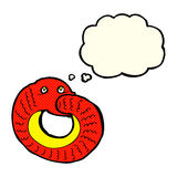 Cartoon snake eating own tail with thought bubble Royalty Free Stock Images