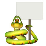 Cartoon snake holding a blank sign. Isolated on the white background Stock Photography
