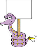 Cartoon Snake Holding a Sign Stock Photo