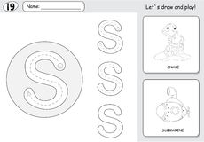Cartoon snake and submarine. Alphabet tracing worksheet: writing Stock Photo