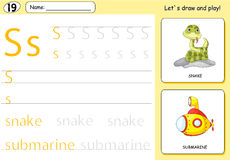 Cartoon snake and submarine. Alphabet tracing worksheet. Writing A-Z, coloring book and educational game for kids royalty free illustration