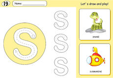 Cartoon snake and submarine. Alphabet tracing worksheet. Writing A-Z, coloring book and educational game for kids stock illustration