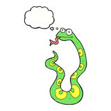 Cartoon snake with thought bubble Royalty Free Stock Images