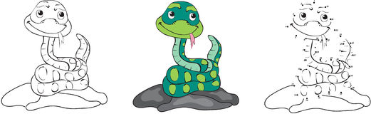 Cartoon snake. Vector illustration. Coloring and dot to dot game Stock Photo