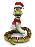 Cartoon snake wearing Santa hat and scarf. Stock Images