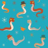 Cartoon snakes seamless background Stock Images