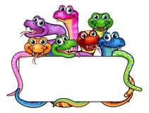 Cartoon Snakes Sign Stock Photography