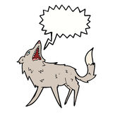cartoon snapping wolf with speech bubble Stock Images