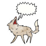 cartoon snapping wolf with speech bubble Royalty Free Stock Photography