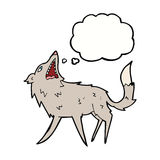 cartoon snapping wolf with thought bubble Royalty Free Stock Photo