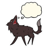 Cartoon snapping wolf with thought bubble Stock Image
