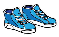 Cartoon Sneakers - Blue and White Stock Image